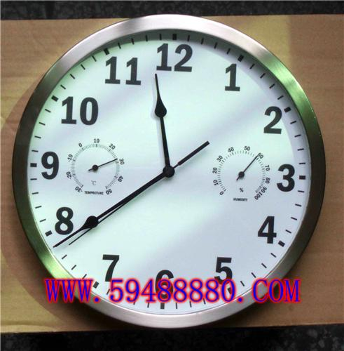金属壳温湿度挂钟 型号:DJQ-THC9250